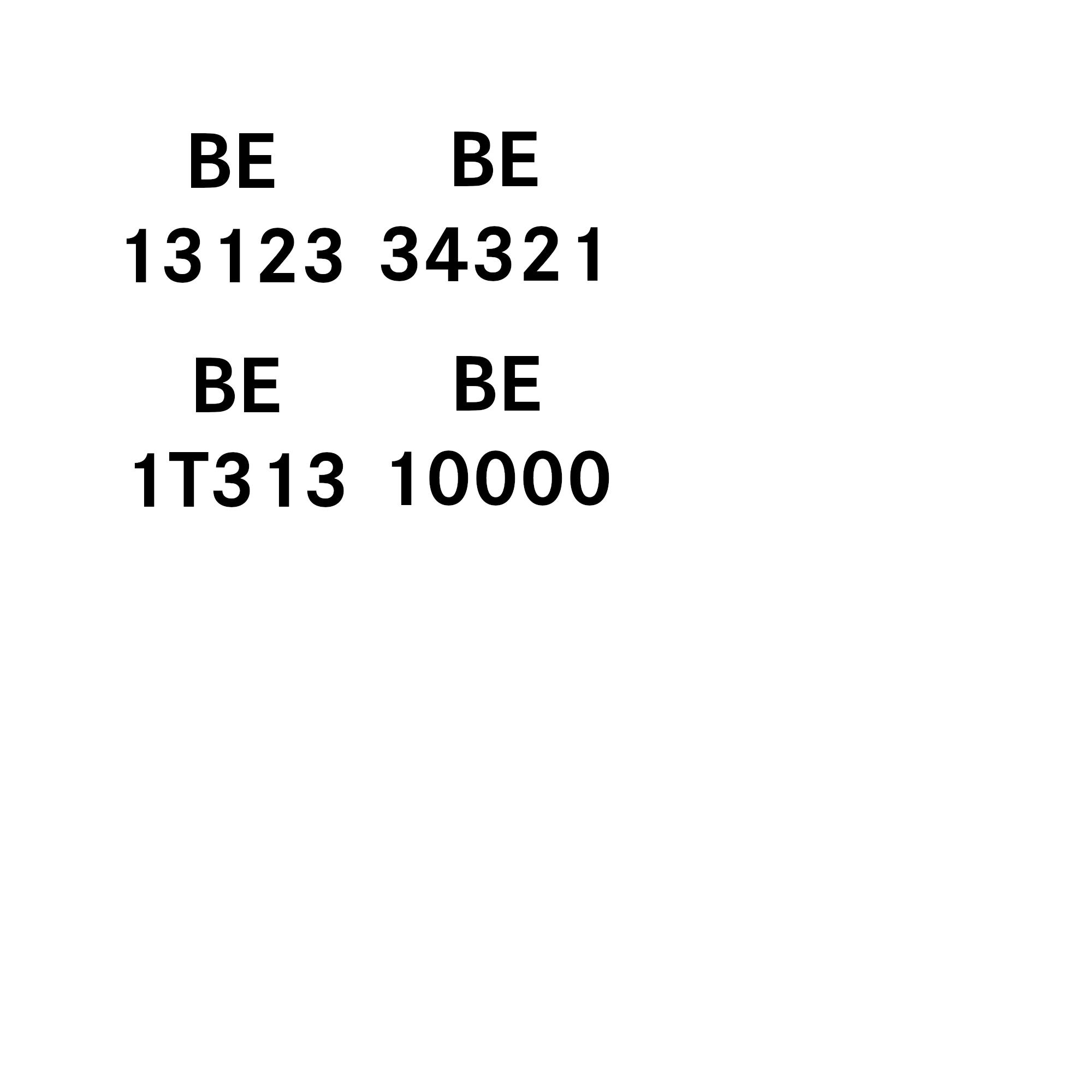 Beispiele Kennzeichnung: BE 13123, BE 34321, BE 1T313, BE 10000