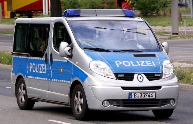 Renault-Kleinbus von vorn, silber-blau