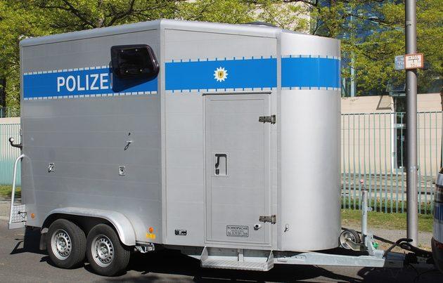 gruaer Pferdeanhänger mit blauem Polizei-Streifen