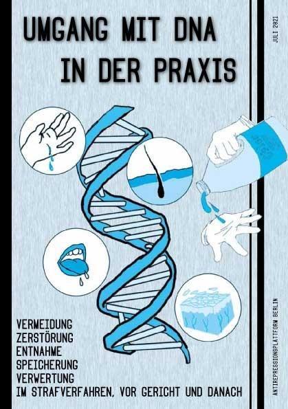 """Titelseite der Borschüre mit einer DNA Helix in der Mitte, dem Titel """"Umgang mit DNA in der Praxis"""" sowie in Schlagworten der Inhalt: Vermeidung, Zertörung, Entnahme, Speicherung, Verwertung, im Strafverfahren, vor Gericht und Danach"""